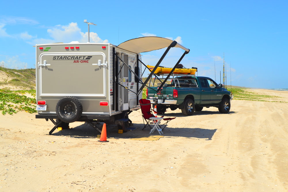 RV Trip for trout/tarpon.  Redfish, skipjack.  Black terns following the Dusky Anchovy migration.  High winds cut trip short. - Padre Island National Seashore