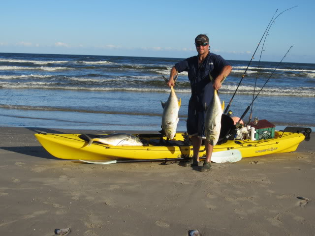 Bad red tide, Kayak Fishing beyond the breakers, two Jackfish at a time on the 2nd bar from the yak. Gas platform fishing. - Padre Island National Seashore