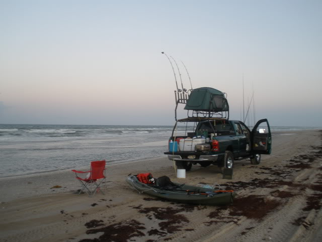 Sharking and Kayak fishing the end of Mansfield Jetty. - Padre Island National Seashore