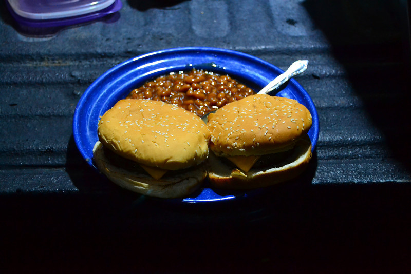 Cheeseburgers and beans