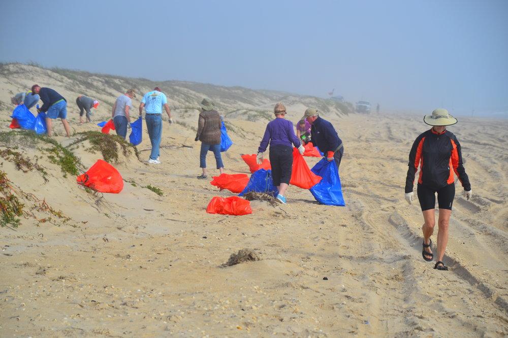 Volunteers working hard.