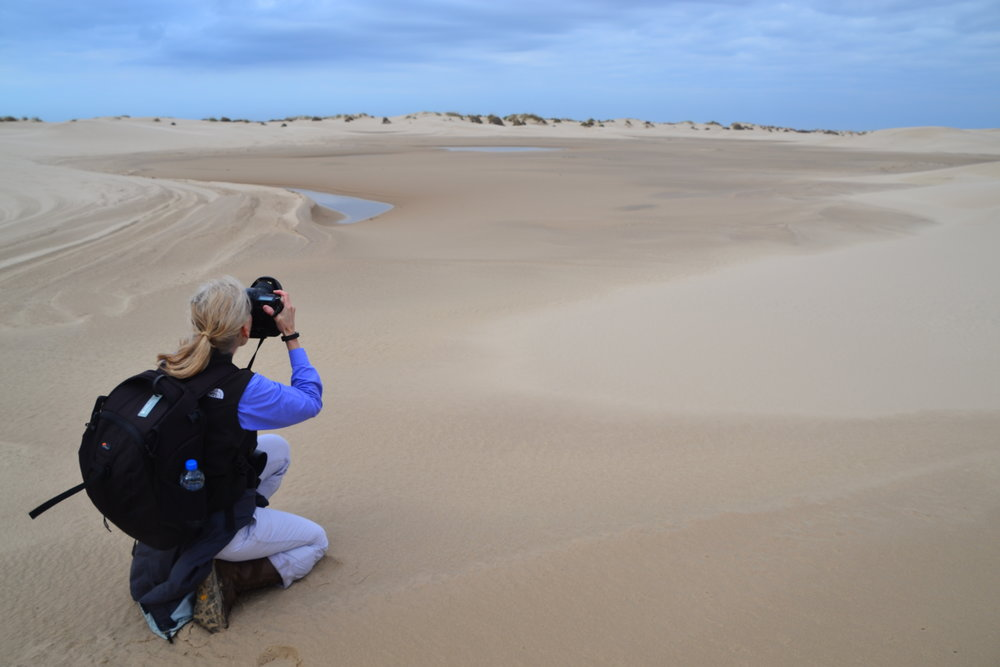 Photographing the dune field.