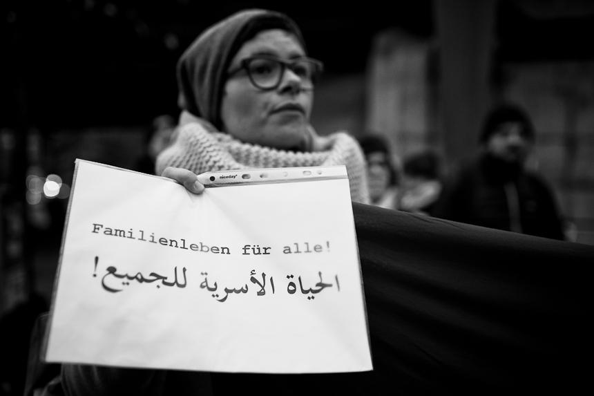 Refugees protestieren in Berlin für Familienzusammenführung