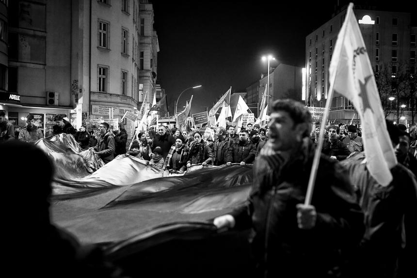 Spontane Demonstration von Kurden in Berlin für Afrin
