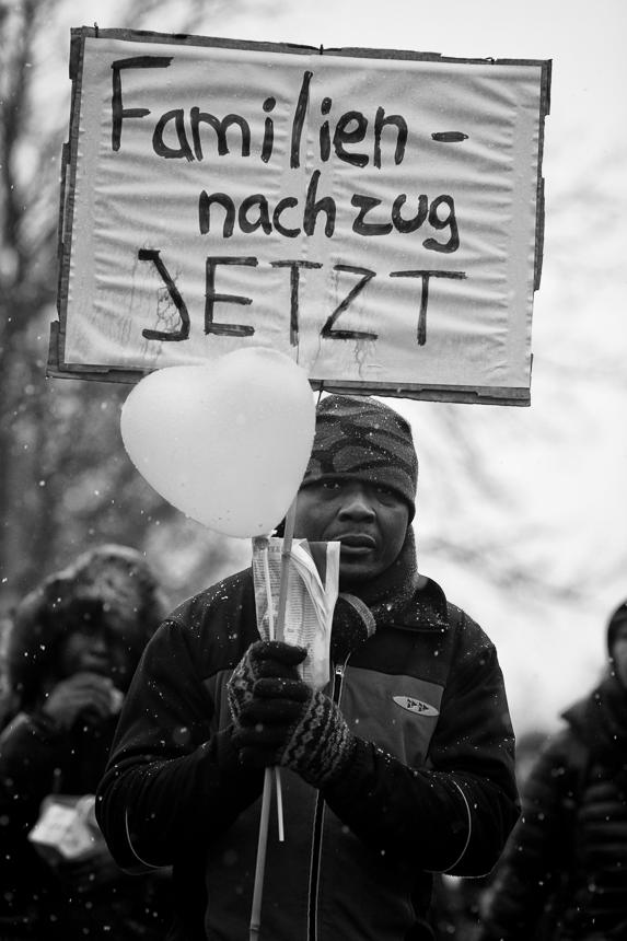 Gefluechtete Demonstration fuer Familiennachzug