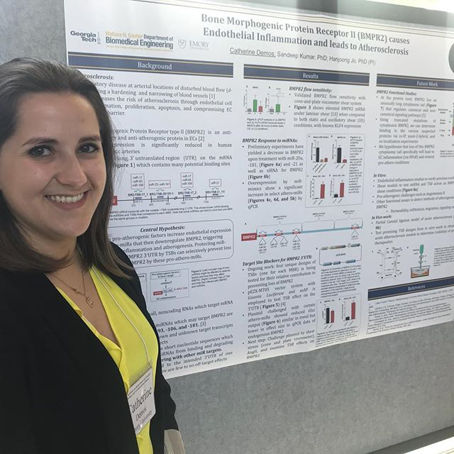 "Visit us during the poster sessions! Here is PhD student Catherine Demos presenting her work: ""Bone Morphogenic Protein Receptor II (BMPR2) causes endothelial inflammation and leads to atherosclerosis"""