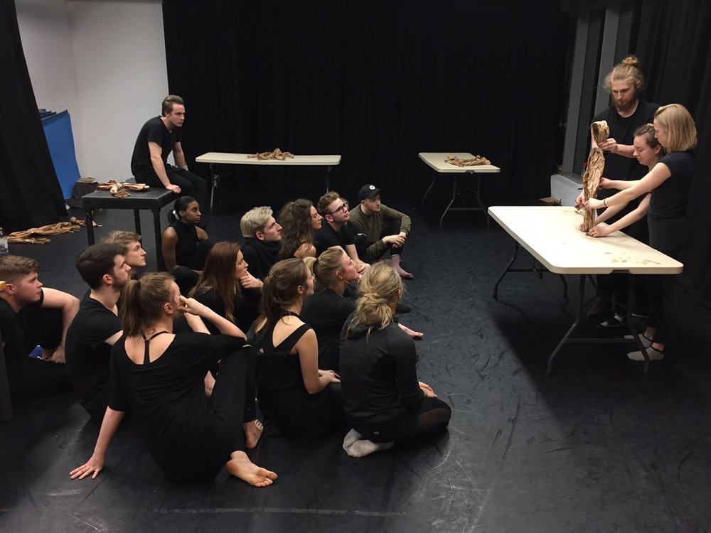 Physical Theatre students at East 15 Acting School