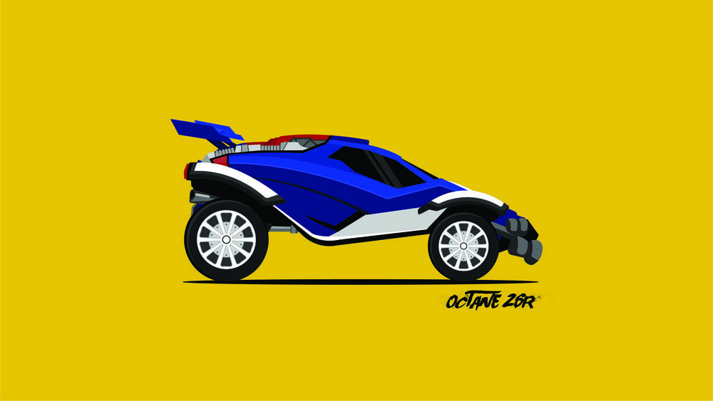 """Rocket League: Octane ZSR [2D]"" is an example of creative work I designed as a fan of the video game, Rocket League. It is a 2D representation of my favorite car in the game, designed entirely in Adobe Illustrator. I love projects like these, because I enjoy designing the individual components that make the design pop as 2D concept art."