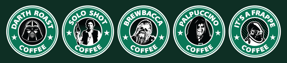 "These ""Star Wars/Starbucks Parody Stickers"" were created for the die cut sticker, Twitter page, Stickergrub. Being a fan of both Star Wars and coffee, this was an insanely, fun project to work on. I'm a huge fan of puns and parodies, and I used these skills to create five stickers based after popular characters from the Star Wars franchise."