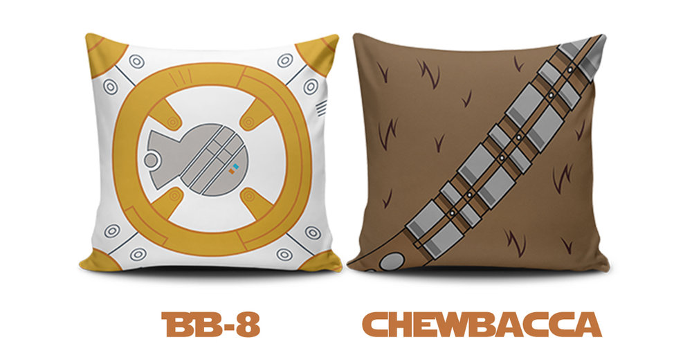 "These ""Star Wars Pillows"" were created for a throw pillow company in 2016. It's always a pleasure doing design work when it incorporates a brand that I absolutely love. The graphics you see were created with Adobe Illustrator and placed into Photoshop on these square, pillow mockups."