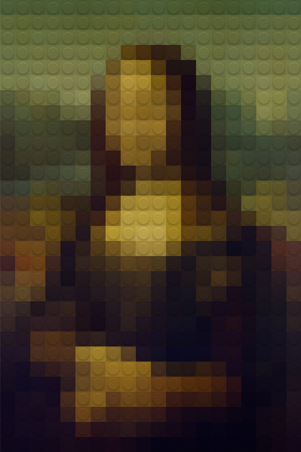 """Mona Lego"" was a project I did for fun to settle an issue I was having with pixel graphics. My theory was that if I could convert  an image into pixels using the Photoshop ""Pixelate"" filter, then I could apply a pattern of 1x1 lego blocks to create the illusion that I did all of the work putting together the pieces in person. This way, fortunately, I could create a Photoshop action and save myself HOURS, while also gaining infinitely many colors to work with. The complexity of math in this project proved to be overwhelming at first, but after a couple of coffee breaks, I was successful in creating a working template that could be used for virtually any source image."