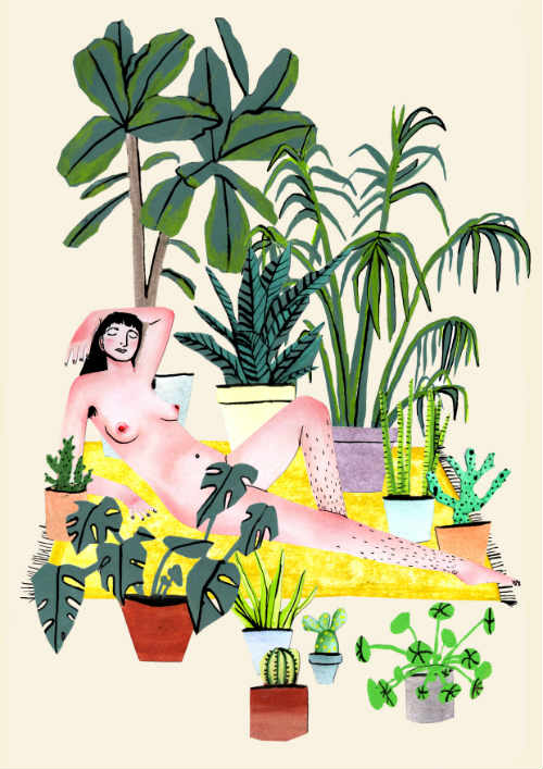 Naked Lady with Plants by Kathryn Rust