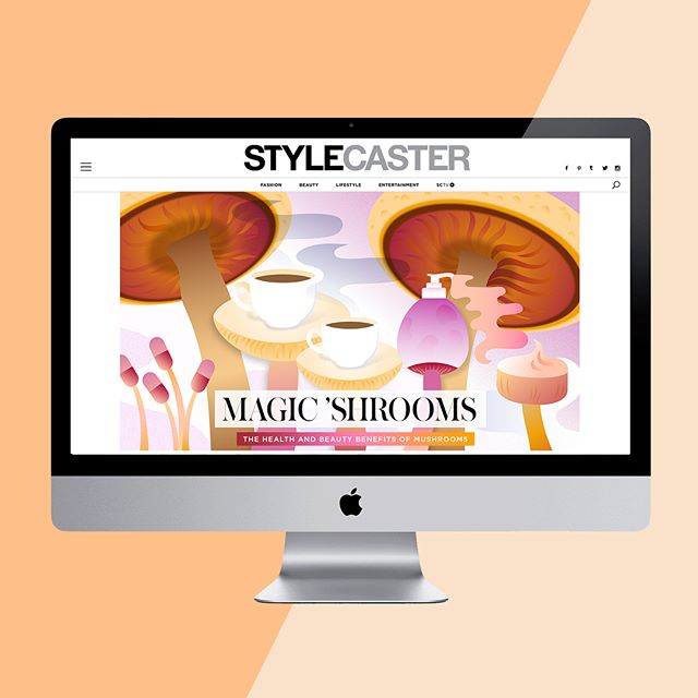 "I have been doing illustration work for StyleCaster over the last few months... I never thought I would have illustration credits...it was never even something I considered doing (or being any good at!) After working with some of the best pros out there, well, it's really hard to not be critical and think, ""Would I hire me?"" 😂🤷🏻‍♀️ — StyleCaster has be a dream client as I explore my style and refine my illos. Trying hard to except where I am and keep creating and see what happens! — Visit Stylecaster.com to ""The Beauty and Wellness Benefits of Mushrooms"" and see this illo live. Has anyone else tried mushroom coffee? It gives you life in the afternoon you never knew was possible. ☕️ 🌩 😄"
