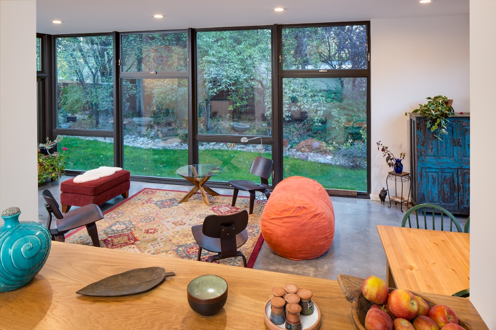 The owners refer to the new addition as the garden room for the way it brings nature into the space.