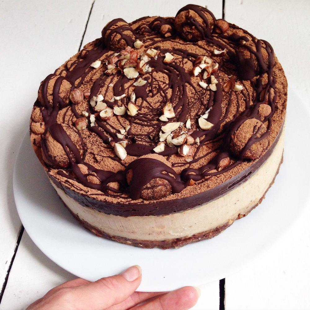 Caramel, peanut butter & chocolate cake