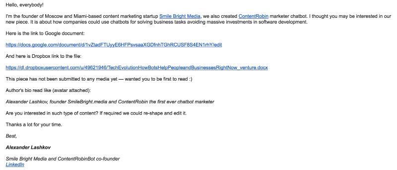 Примерно такой питч, отправленный на общий адрес электронной почты, привел к публикации на VentureBeat