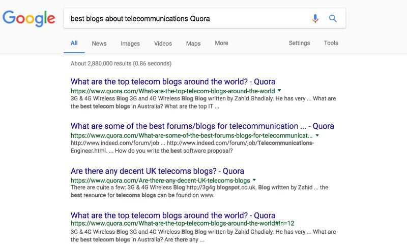 Так мы искали сайты по теме телекоммуникаций для одного из заказчиков