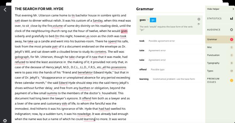 Ассистент Textly находит ошибки в грамматике и пунктуации английского языка