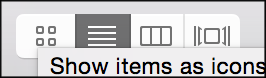 L - R: icon view, list view, column view or cover flow