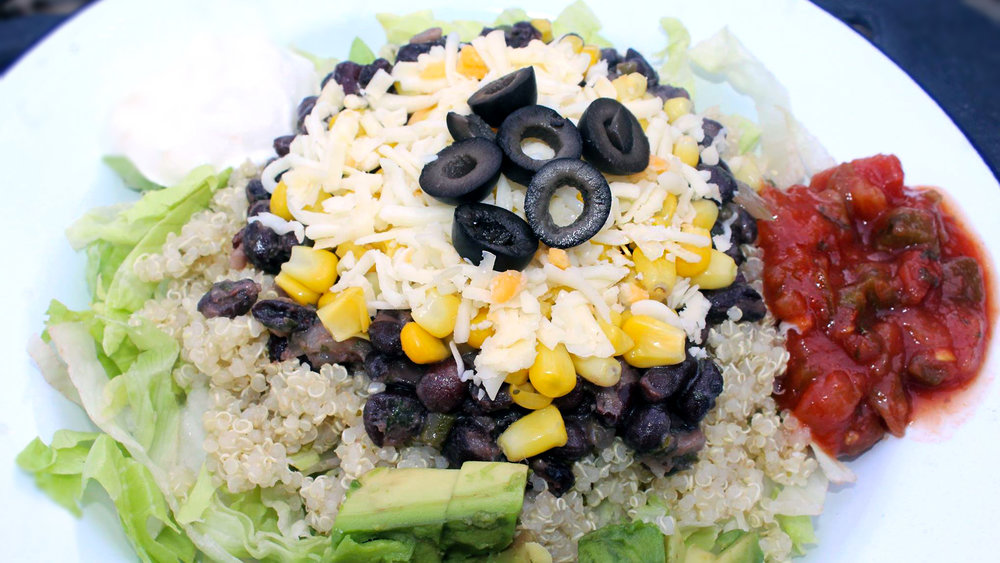 Our quinoa burrito bowl