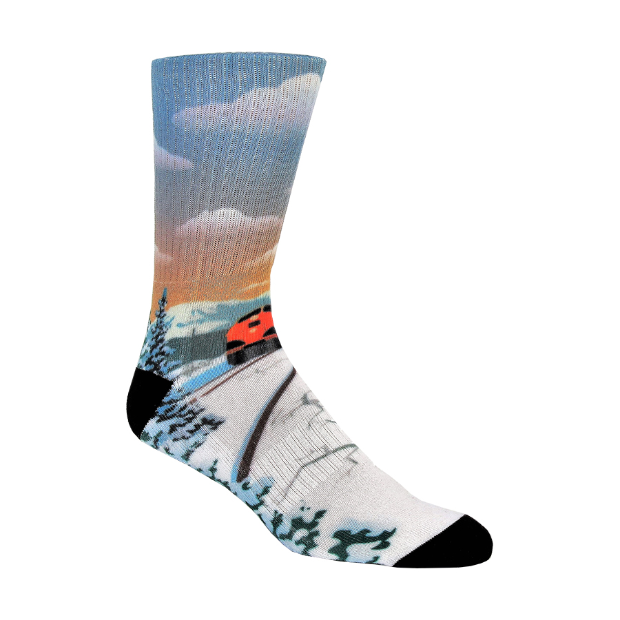 Winter Train Ride Mens Socks