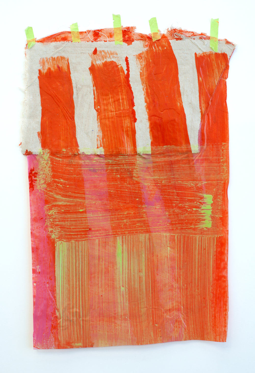 Untitled/Skin   2013  acrylic paint, canvas stuck to the wall  25x15in.