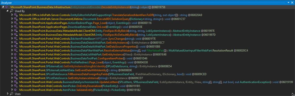 Figure 2: Calls to  Microsoft.SharePoint.BusinessData.Infrastructure.EntityInstanceIdEncoder.DecodeEntityInstanceId(string)
