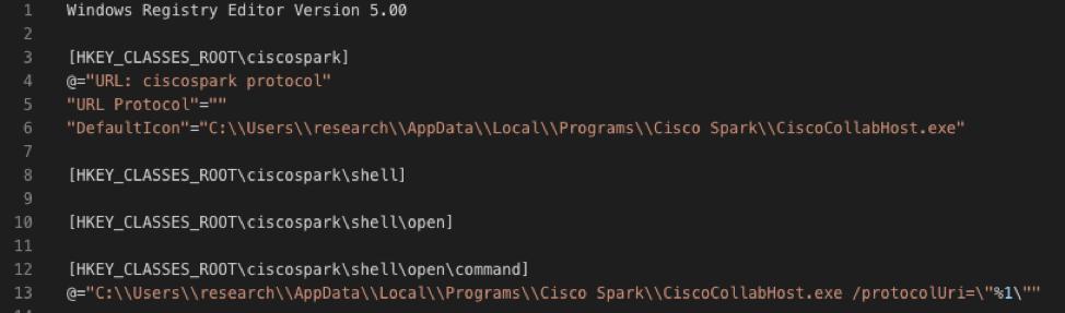 Figure 1 - Registry entry that configures a custom URI scheme for Webex