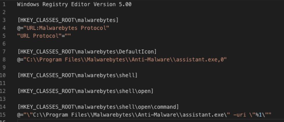Figure 5 - Registry entry that configures a custom URI scheme for Anti-Malware