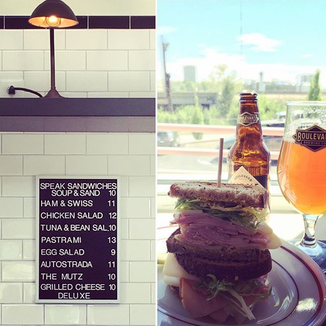 Stopped in for a sandwich and a beer at Speak on this beautiful Saturday.  Not pictured: The pastrami sandwich that the hubs destroyed. I didn't get a picture or a bite.  #kc #kansascity #speaksandwiches #hamandcheese #pastrami #pastramidance #supportlocal #supportsmallbusiness #eatlocal #shoplocal #shoplocalkc #craftbeer #boulevardbrewing