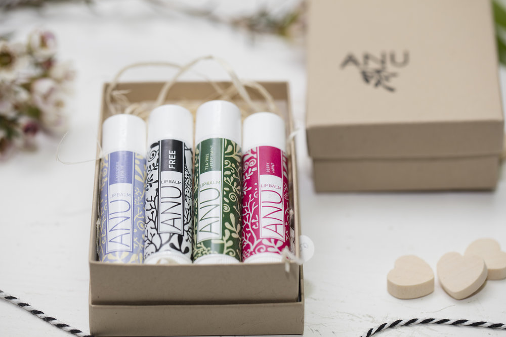 natural lip balm from Anu in a brown box