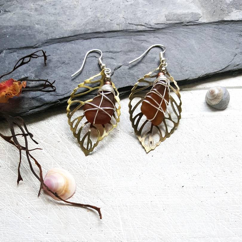 leaf-shaped earrings