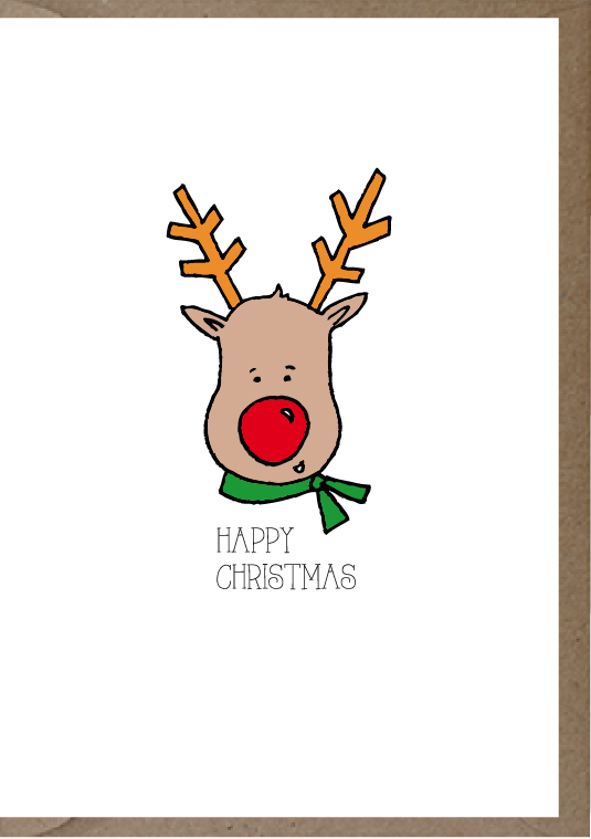 happy christmas post card with reindeer with red nose