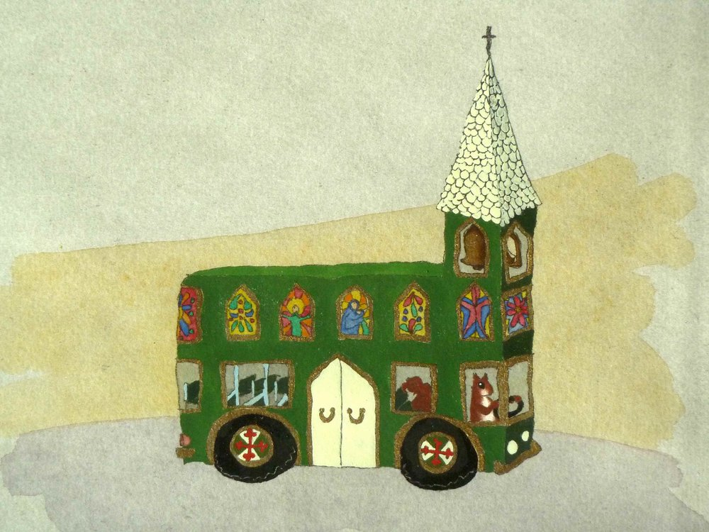 Bus Church (gouache on etching), 2007.  Graduate Show , National College of Art and Design.