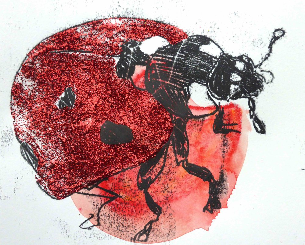 Glitterbug (monoprint, water pastels and glitter), 2016.  Dublin Naturalists' Members' Day , National Botanic Gardens of Ireland