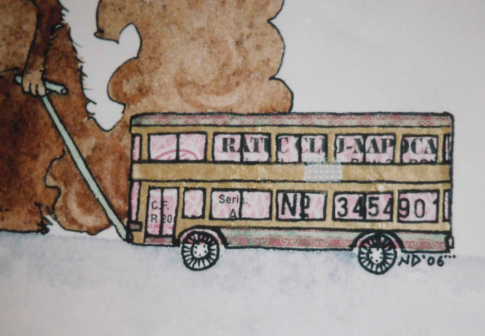 Detail from Beeswing (ink, watercolour, Romanian bus ticket), 2006.  Four Jacks and a Cork , Gallery 53.
