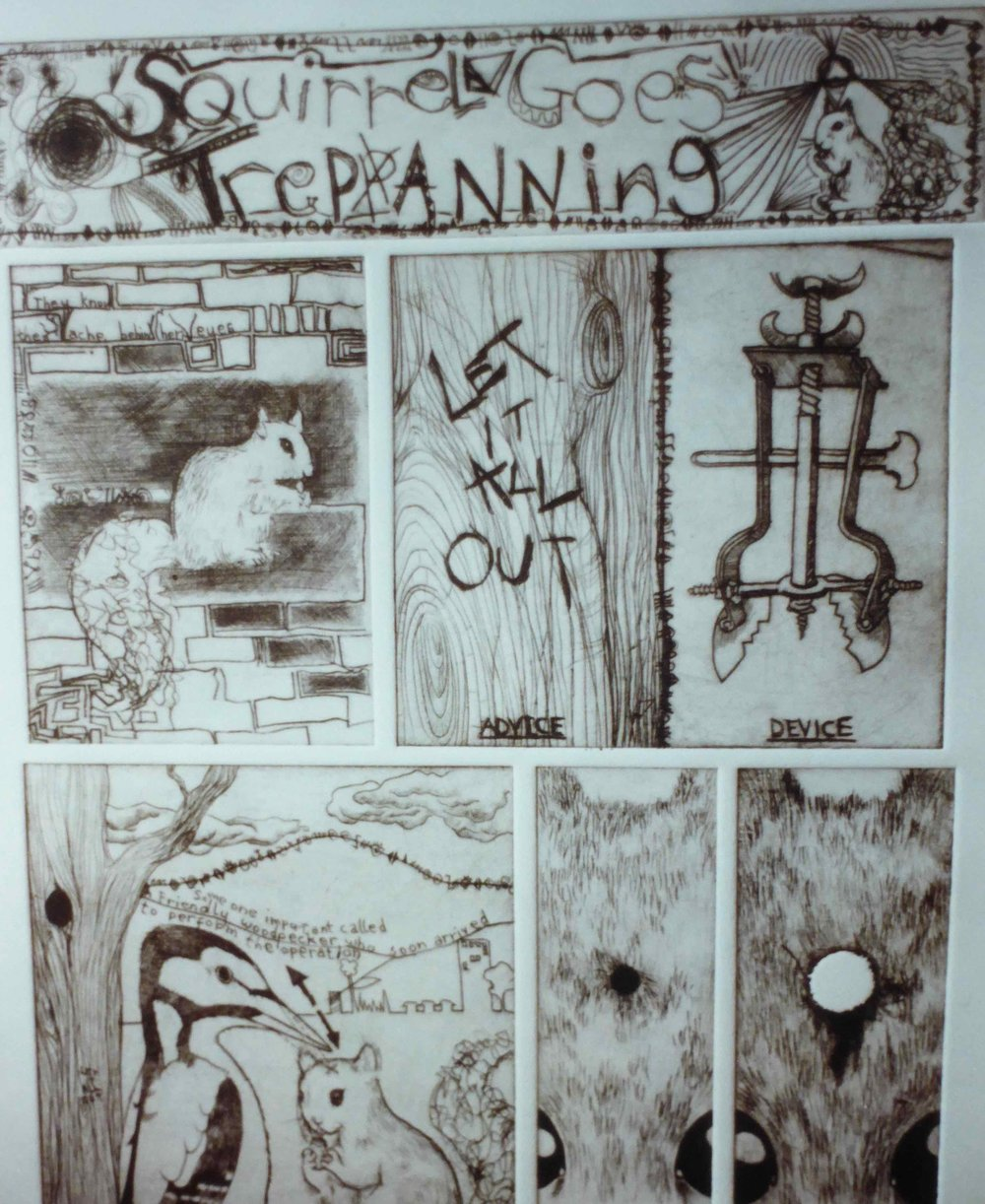 Detail from Squirrel Goes Trepanning (intaglio), 2004.