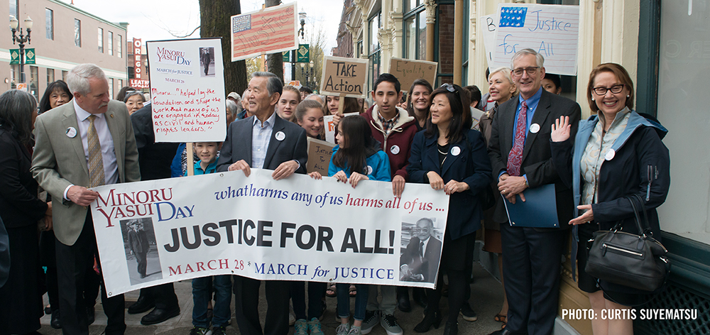 Community members, leaders, and elected officials march in the inaugural Min Yasui Day March for Justice on March 28, 2016.