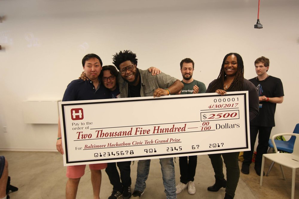 1st Place Allen Song, Drew Swinburne, Marcel Martin, Yair Flicker (Sponsor), Aisha DaCosta (Judge)