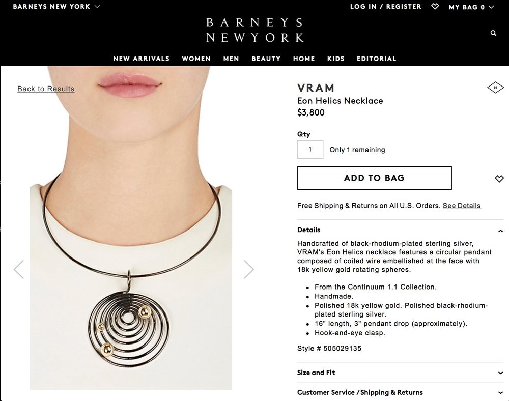 VRAM Jewelry at Barneys Screenshot
