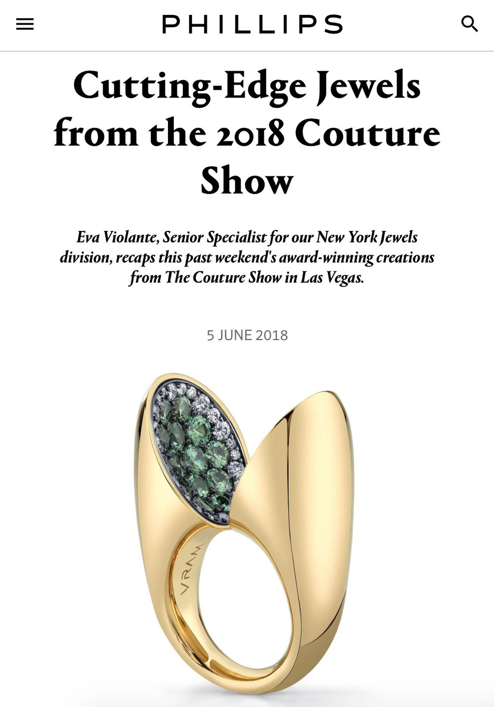 VRAM Jewelry Phillips Couture Award 2018 Cutting Edge