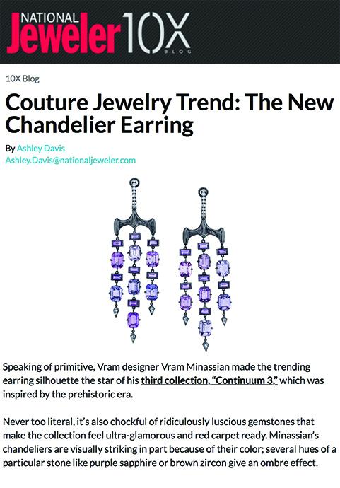 VRAM Jewelry National Jeweler Chrona Chandelier Earring June 2018