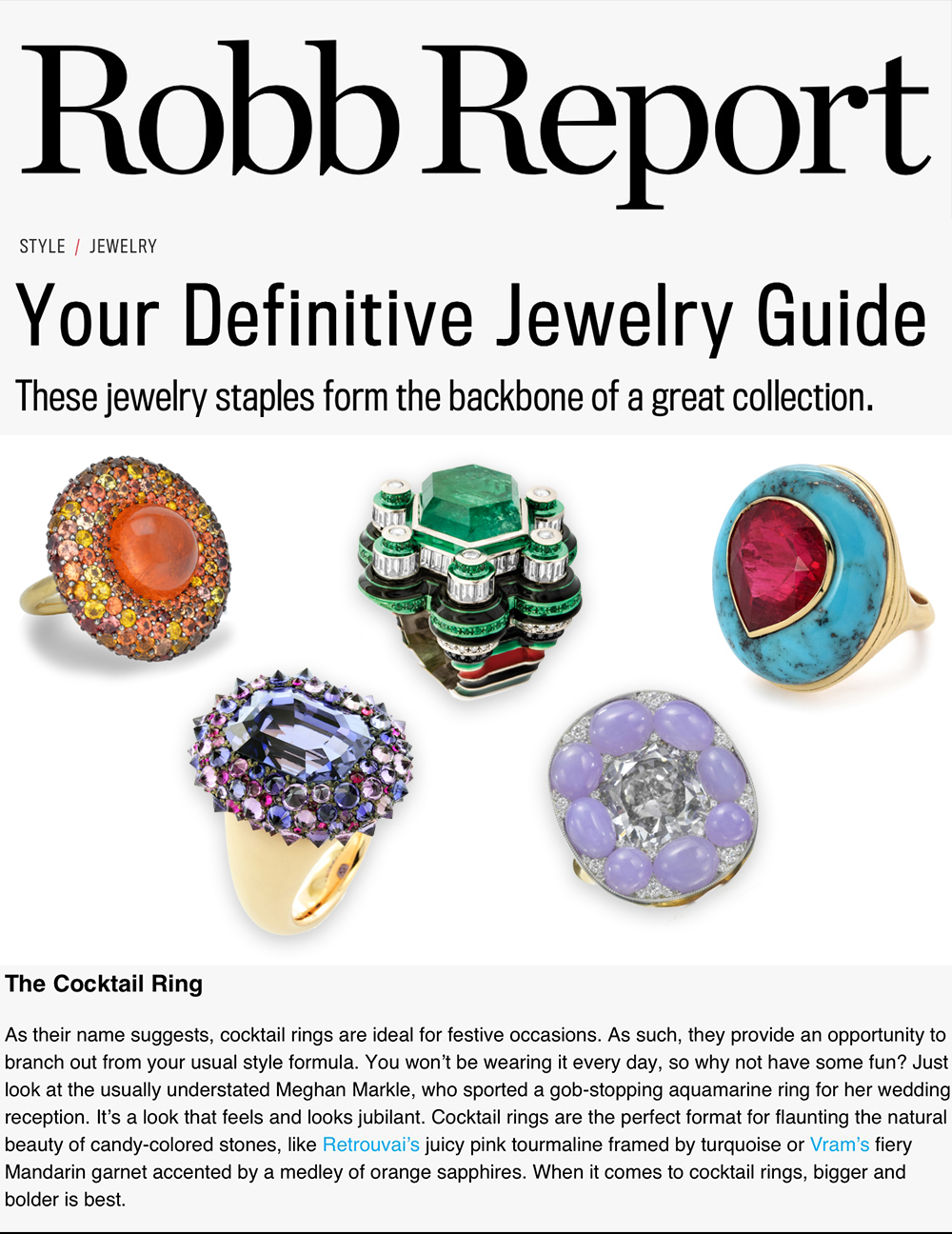 VRAM Jewelry Robb Report Mandarin Garnet Cocktail Ring