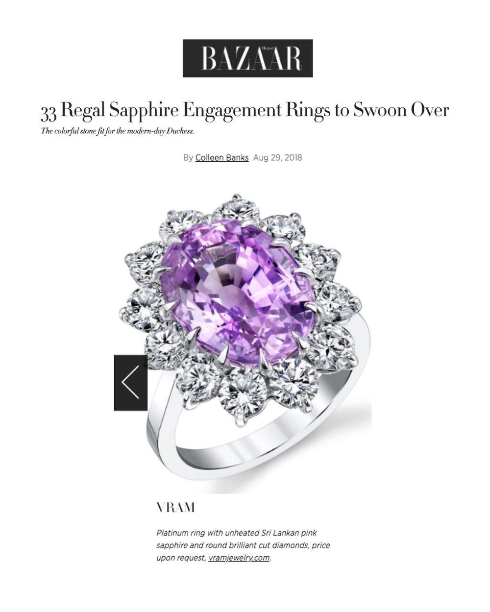 VRAM Jewelry Pink Sapphire Engagement Ring Harpers Bazaar
