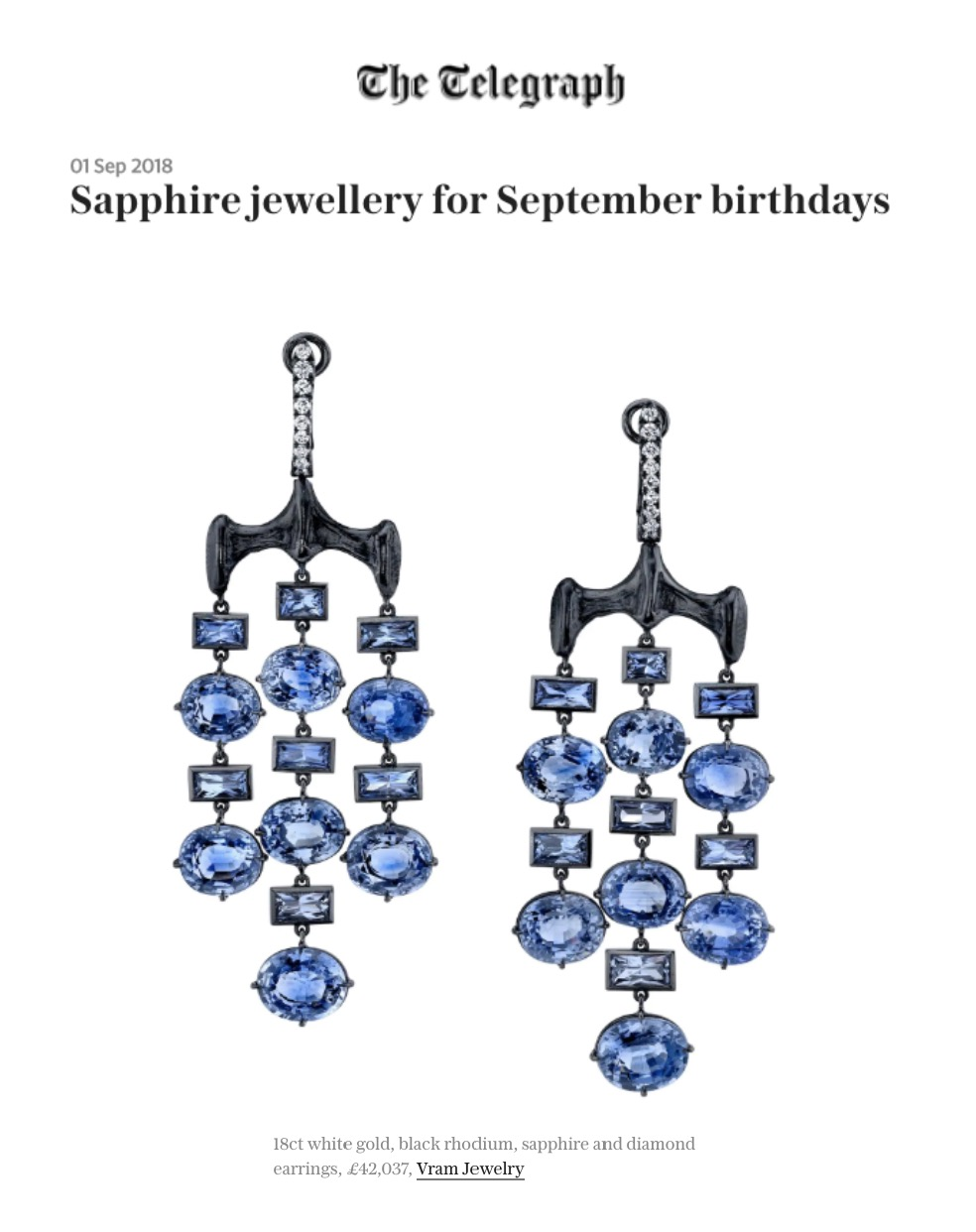 VRAM Jewelry Chrona Sapphire Earrings Telegraph UK