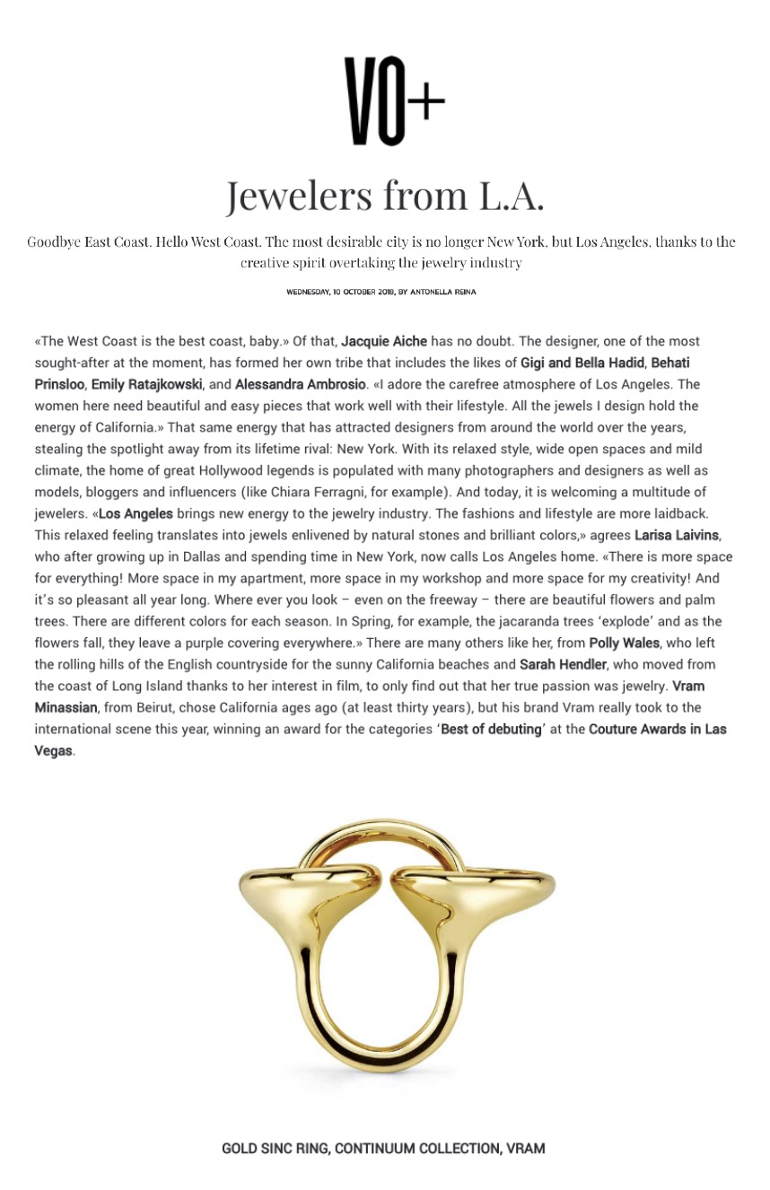 VRAM Jewelry in VO+ October 2018 Magazine Gold Sinc Ring
