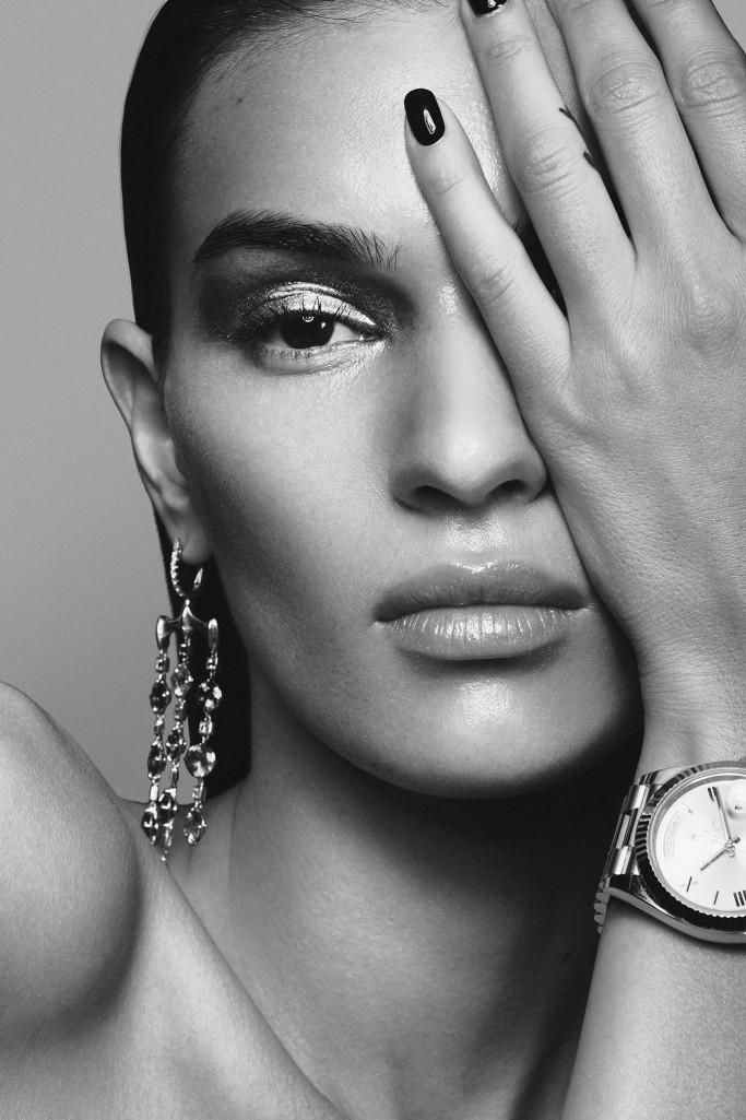VRAM Jewelry Chrona chandelier earrings WWD trend story rolex