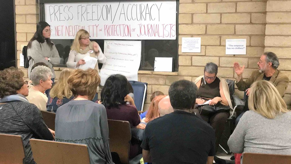 Indivisible: Conejo co-founder Jenny Eis leads an Issue Action Team during the first Organizing Meeting.