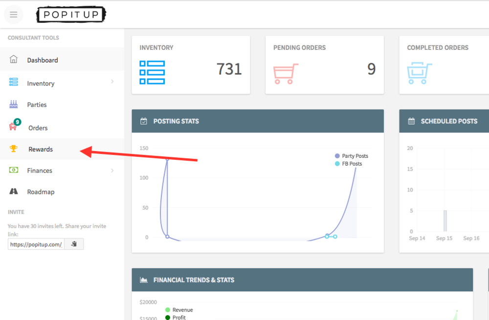 "Screen shot of the new ""Rewards"" button on the left navigation of the consultant dashboard."