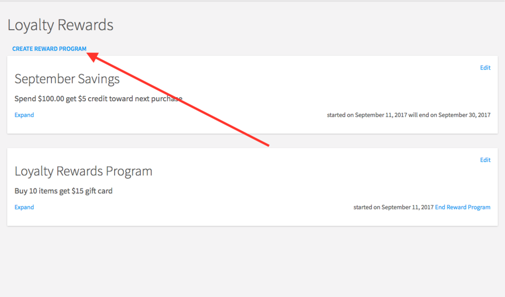 "Screen shot showing the link to click to create a new rewards program while in the new ""Rewards"" feature."